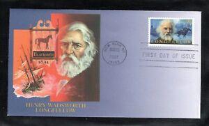 2007 Sc #4124 39¢ Henry W Longfellow Literary Arts Fleetwood cachet FDC