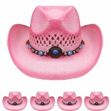 829d940abb4 COWBOY KIDS HAT Paper Straw WESTERN RODEO Cowboy Cowgirl Pink HIGH QUALITY