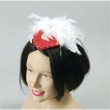 Red Ladies Sequin Hat With Feather - Fancy Dress Moll Ladys Gangster Hats All