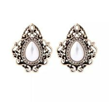 Bridal Wedding Gold Grey White Pearls Earrings Stud vintage style victorian UK