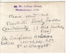 P N Waggett  - WW1 forces chaplain - writer on science & theology - signed card