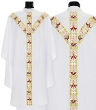 White Semi Gothic Chasuble with stole GY637-B Vestment Casulla Blanca Casula
