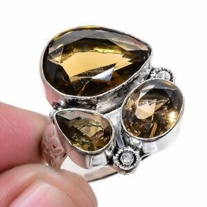 Smokey Quartz Gemstone 925 Sterling Silver Jewelry Ring s.8 LR-4073