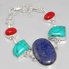 """Handcrafted Rare Lapis Lazuli Turquoise Coral Silver Bracelet 8 7/8"""" Gift"""