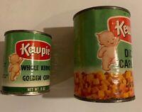 Lot Of 2 Kewpie Vintage Tin Cans Carrots Corn 1960s Empty Paper Label
