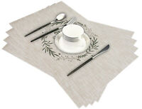 Set of 6 Placemats Woven Heat Resistant Dinner Table Mats Washable 11.8''X17.7''