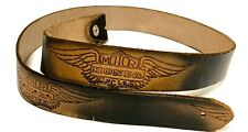 "Vtg Honda Motor Motorcycles Hand Tooled Leather Belt 42"" Length 34 - 42 Waist"