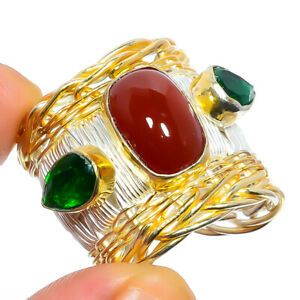 Red Coral & Emerald Quartz Gemstone 925 Sterling Silver Israeli Ring s.Ad S2642