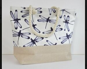 Large Capacity Zipper Handbag Shopping Travel Tote Shoulder Beach Bags Dragonfly