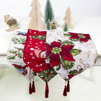Christmas Table Runner Embroidered Tablecloth Home Xmas Party Decor Rectangle
