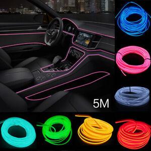 Flexible Neon LED EL Glow Wire Light-guide Tube Car Interior Decor Dance Party