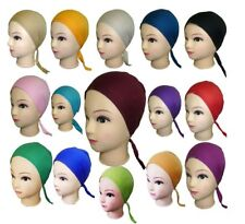12 X Ladies Under Scarf Hijab Tie Back Bone Bonnet Cap Chemo Hat Scarf Hijab