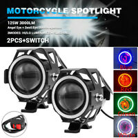2x 125W CREE U7 LED Motorcycle Headlight Angel&Devil Eyes Fog Spot Strobe+Switch