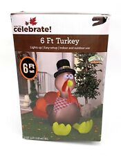 6 Foot Airblown Thanksgiving Inflatable Turkey Way to Celebrate Lights Up