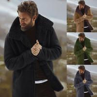 Men's Winter Sheepskin Jacket  Warm Wool Lined Mountain Faux Lamb Jackets Coats