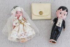 Vintage 1930s Celluloid Bride Groom Kewpie Doll Wedding Cake Toppers Ring Case