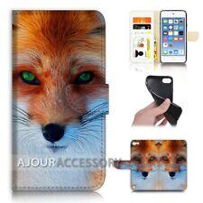 ( For iPod Touch 6 ) Wallet Flip Case Cover AJ21496 Cute Fox