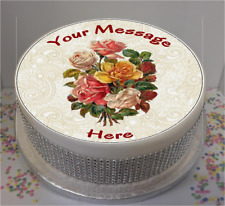 """Personalised Vintage Flowers & Lace 7.5"""" Edible Icing Cake Topper birthday"""