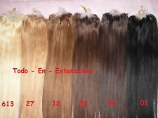 50 Extensiones Micro Ring, Cabello 100 % Natural, Calidad Remy AAA.