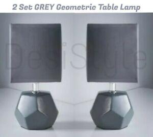 2x Set Grey Ceramic Geometric Table Lamp Desk Light Home Office Kids Bed Room 🤩