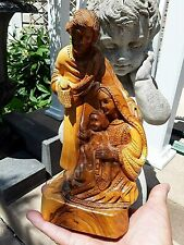 Vintage Olive Wood Carving Statue Religious Jesus Family  From The Holy Land