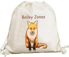Personalised - Fox Design - Natural (Cream) Cotton Rucksack / Backpack Bag
