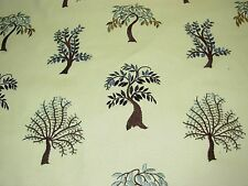"~10 YDS~ MODERN ""TREE OF LIFE""~EMBROIDERED LINEN UPHOLSTERY FABRIC FOR LESS~"