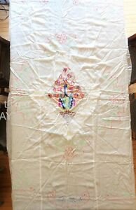 vintage CHINESE silk satin PEACOCK BED COVER or TABLECLOTH