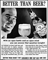 1952 Carling Red Cap Ale smiling man bottle glass vintage photo Print Ad adL99