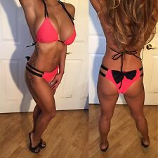 Connie's Black Bow detail Coral Orange  Bikini set w/ Ruched Bottoms L