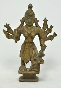 Antique Brass Hindu Goddess Kali Idol Figurine Original Old Crafted Engraved
