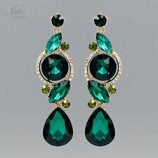 18K Gold Plated GP Green Crystal Rhinestone Wedding Drop Dangle Earrings 05610