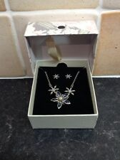 NECKLACE & EARRING SET BY NEW SILVER COLOURED FLOWER DESIGN NEW IN BOX