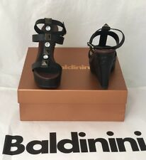 NIB $639 Baldinini Women's Wedges Sandals Black 8.5 US (39Eu) Italy 753063