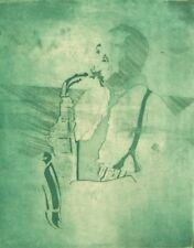 Audrey Houtman Lápiz firmado prueba grabado; Pájaro, saxofonista década de 1980