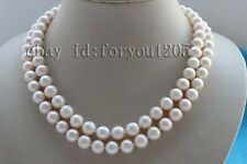 "White Pearl Necklace Zircon #f2570! Double 17-18"" Genine Natural 10mm Round"