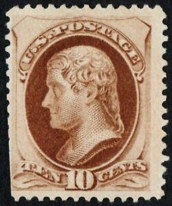 US # 187 *UNUSED NG LH* { 10c JEFFERSON } SOFT POROUS PAPER OF 1879 CV$ 1,200.00