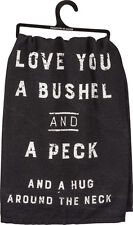 Love You A Bushel And Peck Black Dish Towel Primitives By Kathy Farmhouse Rustic