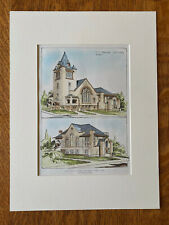 Glendale M.E. Church, Everett, MA, 1905. C. Blackall, Original Hand Colored
