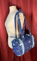 VTG Vera Bradley Blue Holiday Mini Duffle Shoulder Handbag Purse RETIRED 97-98