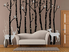 Black Tree Wall Decal Birch Tree Wall Decal With Cute Owls Deers Wall Sticker