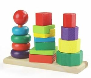 Montessori Wooden Stacking Toy and Shape Towers for Babies and Toddlers