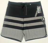 HURLEY MENS BOARDSHORTS PHANTOM WARP SWIM TRUNK SWIMSUIT GREY BLACK LONG 38 NEW