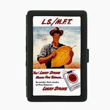 Lucky Strike Black Cigarette Case D8 Metal Wallet Vintage Cigarette Smoking Ad