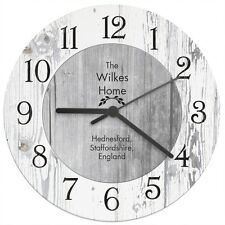 Personalised Shabby Chic Large Wooden Kitchen Wall Clock - Home Wedding Gift