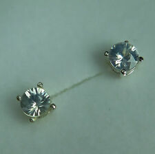 Zircon Natural Round Sterling Silver Fine Earrings