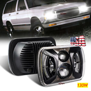 "DOT 7x6"" 5x7"" Square Led Headlight Hi/Lo Halo DRL for Jeep Cherokee XJ YJ Chevy"