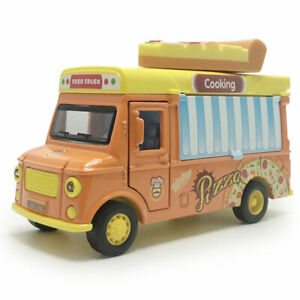 1:36 Pizza Fast Food Truck Model Car Diecast Toy Vehicle Pull Back Sound & Light