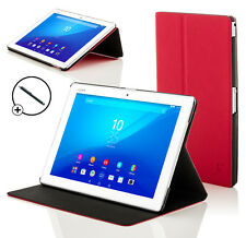 Leather Red Clam Shell Smart Case Cover for Sony Xperia Z4 10.1 SGP771 + Stylus