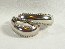 BEADED Edge Silver Tone HOOP Earrings Clip Classic Vintage Estate Career